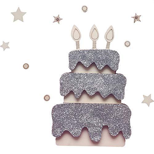 Moregirl Madera Feliz Cumpleaños Fiesta Decoración Pastel Topper Fondo Adorno de Pared Prop