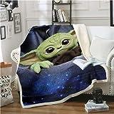 LDYJ Star Wars Baby Yoda Decke Design Flanell Fleece Decke Bedruckt Kinder Warm Bettüberwurf Decke Kinderdecke Stil 4