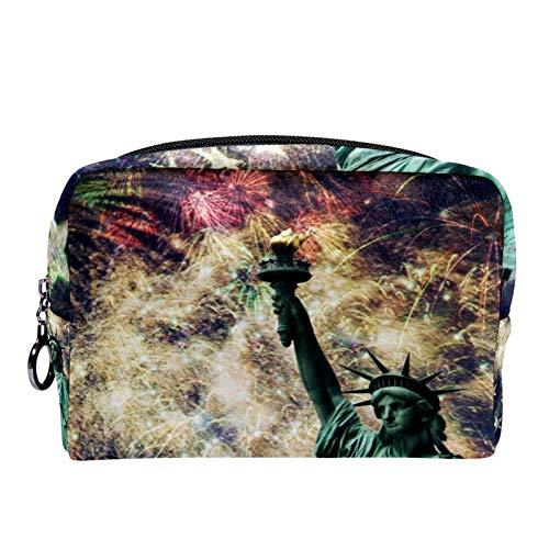 Bolsa de cosméticos Bolsa de Maquillaje para Mujer para Viajar para Llevar cosméticos, Cambio, Llaves, etc.Estatua de la Libertad con una Bandera