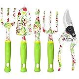vanow Gardening Tool Set, 5 PCS Heavy Duty Aluminum Gardening Hand Tools Kit, Floral Print Gardening Gifts for Women with Pruning Shears Weeder Hand Rake Shovel Cultivator