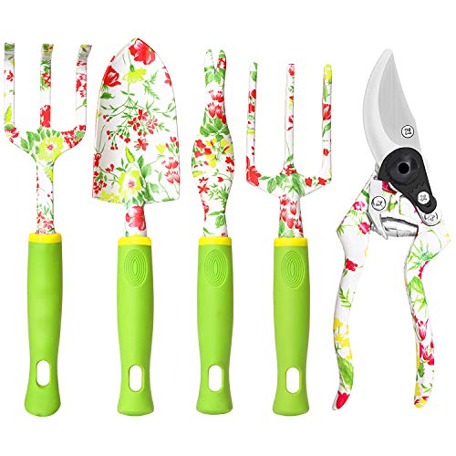 vanow Gardening Tool Set, 5 PCS Heavy Duty Aluminum Gardening Hand Tools Kit, Floral Print Gardening Gifts for Women with Pruning Shears Weeder Hand Rake Shovel Cultivator