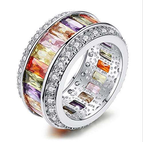 Zirkoon Ring Gepersonaliseerde Mozaïek Ring Damesmode Creatieve Enkele Ring Geschikt Voor Verjaardagscadeaus Voor Vriendin,9#