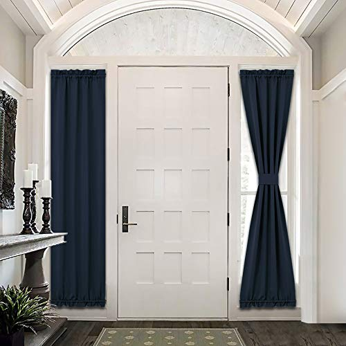 PONY DANCE French Door Curtains - Blackout Front Door Panel Privacy Protect Energy Saving for Sliding Patio Door with Tieback, 25 W x 72 L inch, Navy, Set of 2