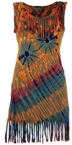 Guru-Shop Batik Minikleid, Boho Fransenkleid, Damen, Rostorange, Synthetisch, Size:36, Kurze Kleider Alternative Bekleidung