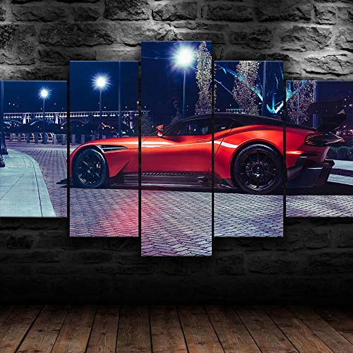 VYQDTNR - 5 Panel Canvas Wall Art 3D Printed Aston Vulcan Sports Car Painting Picture Poster Artwork for Living Room Bedroom Office Home Decoration Ready to Hang, Inner Framed
