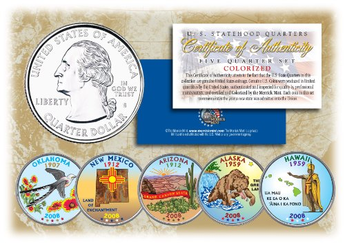 2008 US Statehood Quarters COLORIZED Legal Tender 5-Coin Complete Set w/Capsules