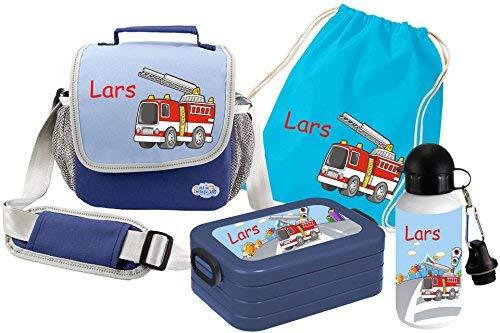 Mein Zwergenland Set 5 Kindergartentasche, Brotdose, Trinkflasche und Turnbeutel Happy Knirps mit Namen, 4-teilig, blau