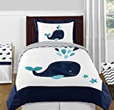 Turquoise, Navy Blue and White Whale Nautical Ocean Boys or Girls 4 Piece Kids Teen Twin Bedding Set Collection