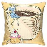 pingshang Moderne KissenbezügeRetro Dred Lady, die auf Einer riesigen Kaffeetasse sitzt und an CoffeeHome Decor Kissenbezügen nippt 18 & mal; 18 Zoll