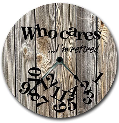 Orologio da parete Tr73ans, WHO CARES Im in pensione orologio da parete, legno grafico grigio tavole stampate immagine, rustico cabina country parete decorazione della casa,