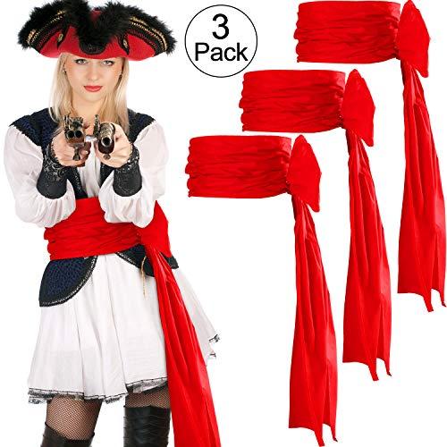 SATINIOR 3 Stücke Piraten Schärpe Halloween Gürtel Schärpe Mittelalter Schärpe, 118 Zoll Lang (Rot)