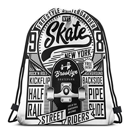 ARRISLIFE Schulschultertaschen,Unisex Kordelzug Taschen,Sporttasche,Reisepaket Casual Daypack,Skateboard Skate Board Sport Tee Graphics Urban Skater Street Drawstring