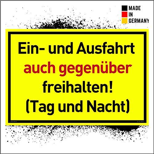 NEU Einfahrt Freihalten Schilder (30x20 cm Kunststoff) - Ausfahrt freihalten Schild - Nie Wieder zugeparkt - Auch Gegenüber - (Gelb) - Tag und Nacht freihalten