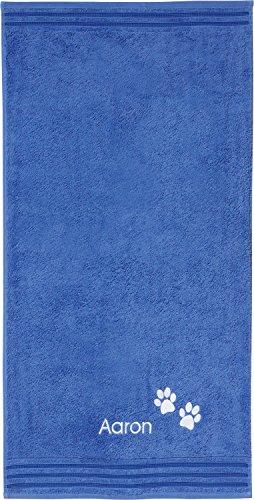 Erwin Müller Handtuch Pfote inkl. Bestickung mit hochwertigem Stickmotiv blau Größe 50x100 cm