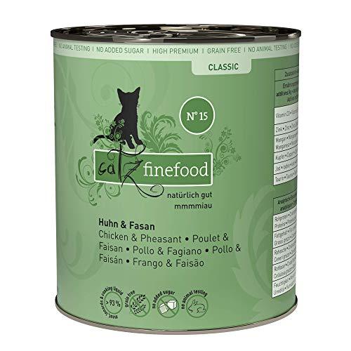 catz finefood N° 15 Huhn & Fasan Feinkost Katzenfutter nass, verfeinert mit Quinoa & Kresse, 6 x 800g Dosen