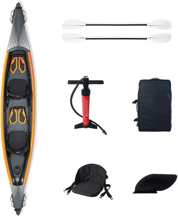 Kayak gonfiabile per 2 persone yzt queen unisex 440 x 78 cm, con palette in lega di alluminio e pompa d`aria 901-233-691