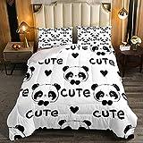 Juego de edredón de diseño de panda, tamaño individual, diseño de corazones negros, 2 piezas para niños, niñas, con temática de animales, edredón acolchado blanco y negro con 1 funda de almohada