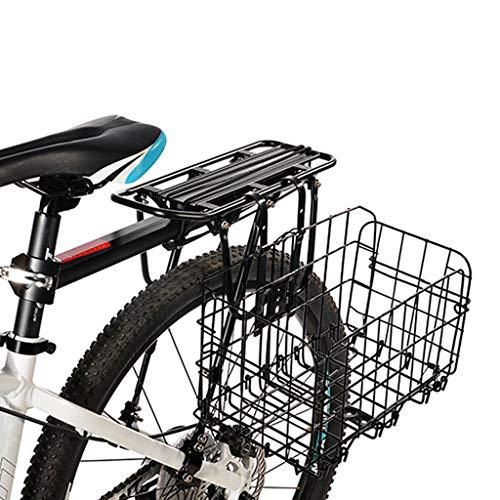 Mountainbike opvouwbare metalen draadmand opvouwbare fietsmand grof ijzeren frame voorzijde tas achteraan opknoping mand voor fiets, Zwart