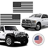 BriCals Vinyl Decals Flat Matte Black Subdued American Flag Car and Truck Window Decal Sticker, 2 Pack, 3x5.5, Made in America, Great for Car, Truck, Window, Helmet, Hat, Laptop, Bumper, etc