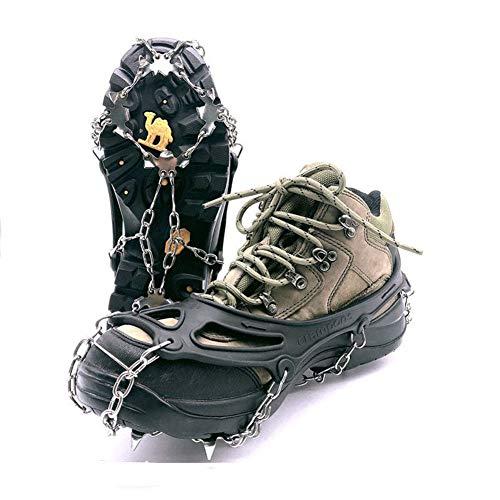 ZHENN Steigeisen mit 18 Zähnen aus schwerem Manganstahl, Schuhüberzüge, Outdoor-Schneeketten, Winter-Schlittschuhe für Kletterer, Bergsteigen, Steigeisen und Stiefel für Herren L Schwarz