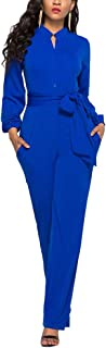 Womens Long Sleeve Jumpsuit for Work Wide Leg Pants...