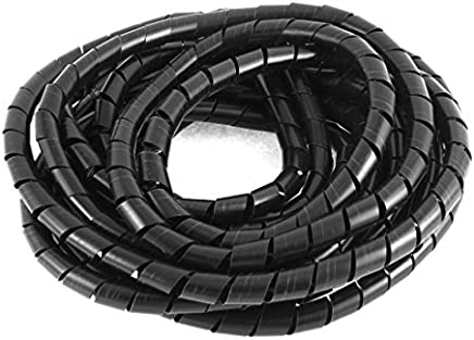 12mm Cine TV por Cable Organizador Wire Wrap en Espiral Negro Band 7M