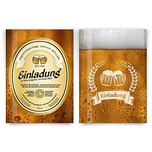 Einladungskarten zum Geburtstag (60 Stück) als Bieretikett Bier Einladung Bierglas Brauerei