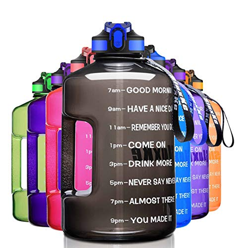 SLUXKE 1 Gallon Water Bottle with Time Marker BPA Free Motivational, 128oz Leak Proof Water Bottle Jug with Handle and Straw, One Click Open Sports Bottle Jug with Comfortable Silicone Nozzle Black