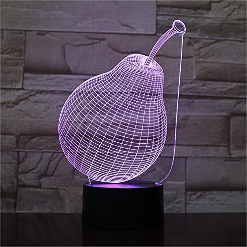 SLJZD luz de noche Interruptor Táctil De Luz Nocturna Luminosa 3D Modelo De Pera De Fruta Para Decoración De Sala De Estar 7 Colores Luz Led De Humor Regalo De Vacaciones Para Niños Con Control Remoto