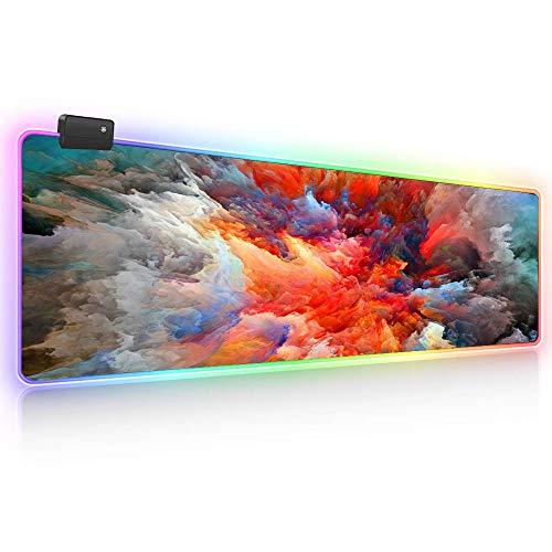 Ruifengsheng LED-Gaming-Mauspad, groß, leuchtend, verlängerte Tastatur, Maus-Pad, wasserabweisend, rutschfeste Gummi-Basis für Gaming, PC, Laptop, Schreibtisch, Mac, 80 x 30 cm (Fa guang-03)