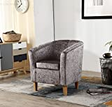 WestWood Modern Crush Velvet Fabric Tub Chair Armchair Lounge Dining Living Office Room Home Furniture TC12 Grey New