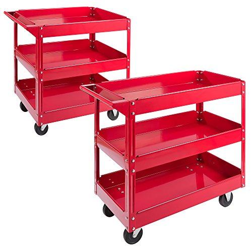 Arebos Werkstatt-Rollwagen Montagewagen/Große Belastbarkeit bis 100 kg / 2 oder 3 Fächer/Einzeln oder als Set (3 Fächer - 2er Set)