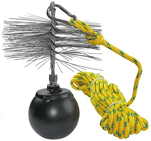 AERZETIX - Juego de deshollinador - herramientas de limpieza para desatascar chimeneas - cepillo metálico Ø175mm - cuerda Ø5mm longitud 10m - bola 1.3kg - mosquetón - C49990