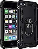 ULAK Funda iPod Touch 7, iPod Touch 5/6 [Grado Militar] Soporte Carcasa con 2 películas Protectoras Híbrido Cubierta de la Suave Resistente a Rayones Caso para iPod Touch 5/6/7 - Negro