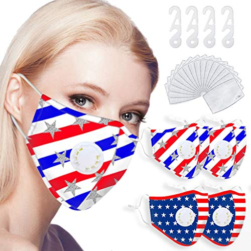 4pcs Reusable Face Balaclava with Breathing & 16 Filter Sheet & 4 Ear Strap Extender for Unisex Adults America Flag Printed Washable Dustproof Sunscreen Haze Mouth Muffle Bandanas for Outdoor, A+B