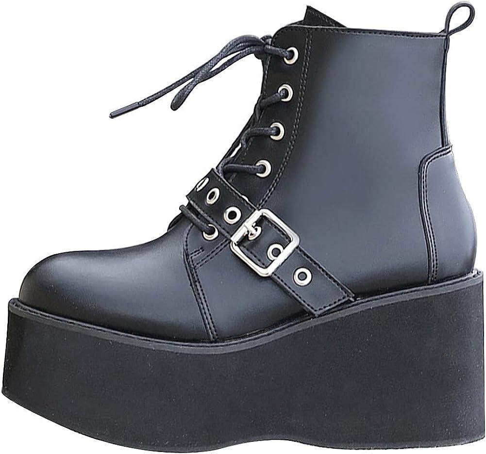 Womens Platform Combat Ankle Bootie Chunky Lace-U Columbus Mall Cheap sale Punk Goth Heel
