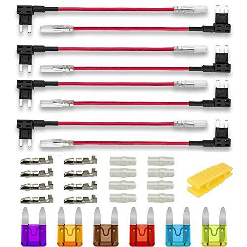 Gebildet 8pcs Pequeña Portafusible,Coche Circuito Cuchilla Estilo Adaptador Cable Fusible,Add-A-Circuit Fusible Titular con 6pcs Fusibles(3A/5A/7.5A/10A/15A/20A)+1pc Extractor
