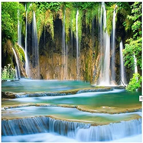 Shuishengcai cascada 3D paisaje fondo pared fondo pintura pared de seda 400x280cm