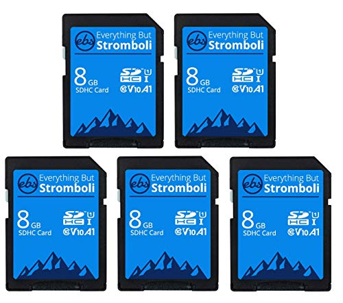 Everything But Stromboli 8GB SD Card (5 Pack) Speed Class 10 UHS-1 U1 C10 8G SDHC Memory Cards for Compatible Digital Camera, Computer, Trail Cameras
