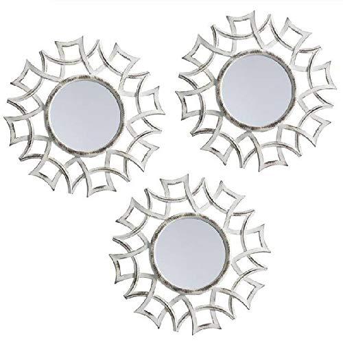 Dcasa Juego de 3 Espejos de Pared Muebles Pegatinas Decoración del hogar Unisex Adulto, Crema (Crema), única