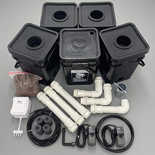 Recirculating Deep Water Culture (RDWC) Hydroponic Grow Kit System, 5 Gallon, 4 Site with Connected Reservoir
