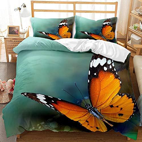 Juego de Cama,Funda nórdica 135x200 cm Mariposa Animal Microfibra Funda Edredon con Cierre de Cremallera, 2 Fundas de Almohada 50x75 cm