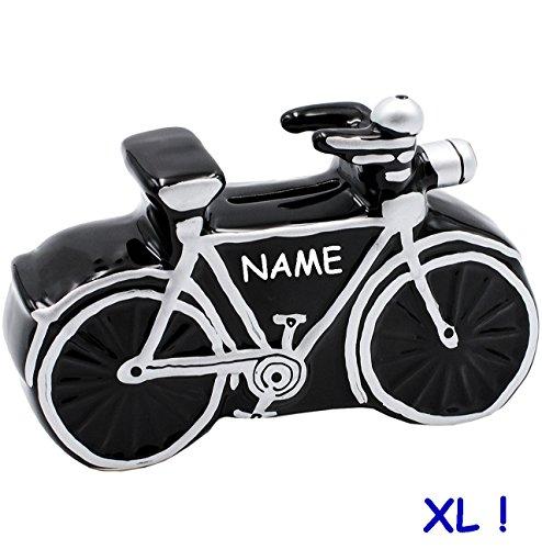 alles-meine.de GmbH große Spardose -  Fahrrad / Bike - E-Bike  - incl. Name - 17,5 cm - stabile Sparbüchse aus Porzellan / Keramik - Sparschwein - für Kinder & Erwachsene / Fah..