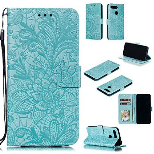 LMFULM® Hülle für Honor View 20 (6,4 Zoll) PU Leder Magnet Brieftasche Lederhülle Handytasche Spitzeblume Standfunktion Ledertasche Flip Cover Grün