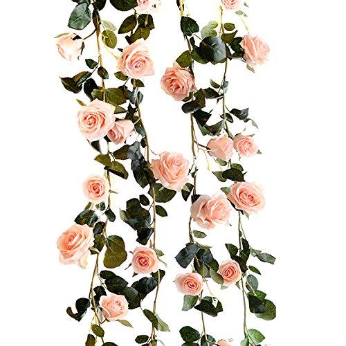 TININNA 180cm handgemachte künstliche Rosen Blumen Efeu Girlande Rosen Blumen für Hauptdekoration Garten Hochzeitsfenster EINWEG Verpackung