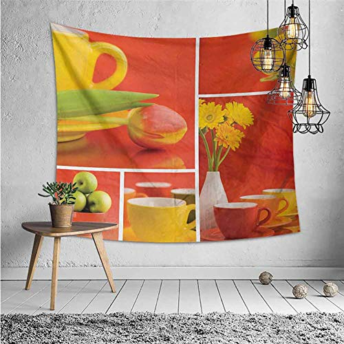 jecycleus Kitchen Wall Blankets for Bedroom Tea and Coffee Cups Composition in Warm Colors Flowers Tulips and Apples Tapestry for Rome Decor W62.8 x L51 Inch Red Yellow Green