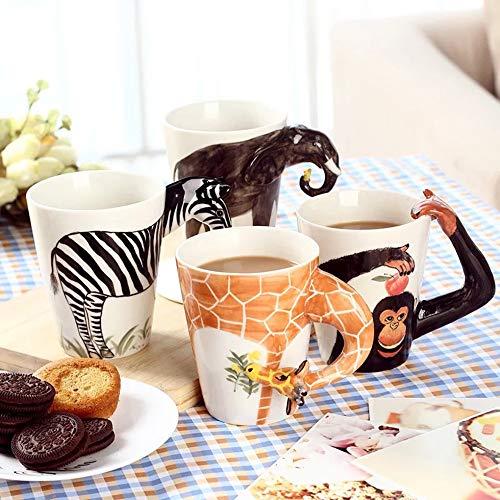 YTONG STORE 3D Animale caffè Tazze Mug En Ceramica Porcellana, Dipinta a Mano Tazze di caffè, Tazza di Bevanda 400 ml, Ideale Regalo di Natale per Uomo Donna Bambini (Giraffa)