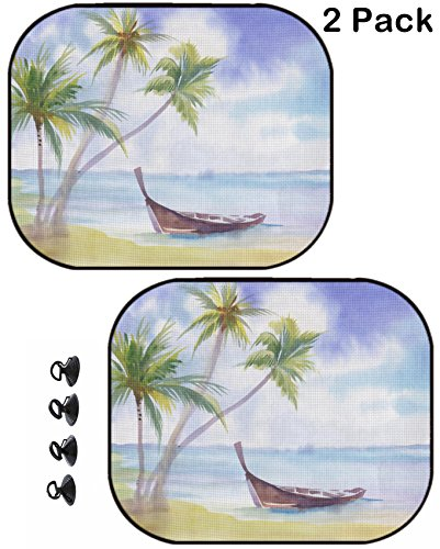 MSD Car Sun Shade Protector Side Window Block Damaging UV Rays Sunlight Heat for All Vehicles, 2 Pack Image ID: 38172239 Boat on The Beach and Palm Trees