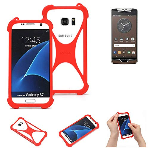 K-S-Trade® Handyhülle Für Vertu Constellation (2017) Schutzhülle Bumper Silikon Schutz Hülle Cover Case Silikoncase Silikonbumper TPU Softcase Smartphone, Rot (1x)