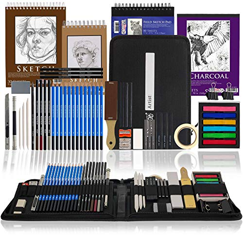 U.S. Art Supply 54-Piece Drawing & Sketching Art Set with 4 Sketch Pads (242 Paper Sheets) - Ultimate Artist Kit, Graphite and Charcoal Pencils & Sticks, Pastels, Erasers - Pop-Up Carry Case, Students